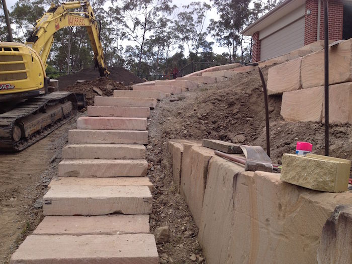 Long Rough Cut Curved Steps